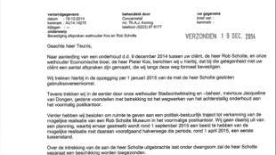 Brief B & W Gemeente Den Helder aan Rob Scholtes advocaat 18-12-2014