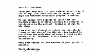 Minister of Foreign Affairs Sweden - Letter to The Hope & Optimism Portfolio
