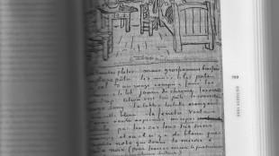 Vincent van Gogh, Schets van zijn slaapkamer, geschetst in brief 706 A, uit zijn periode in Arles  oktober 1888