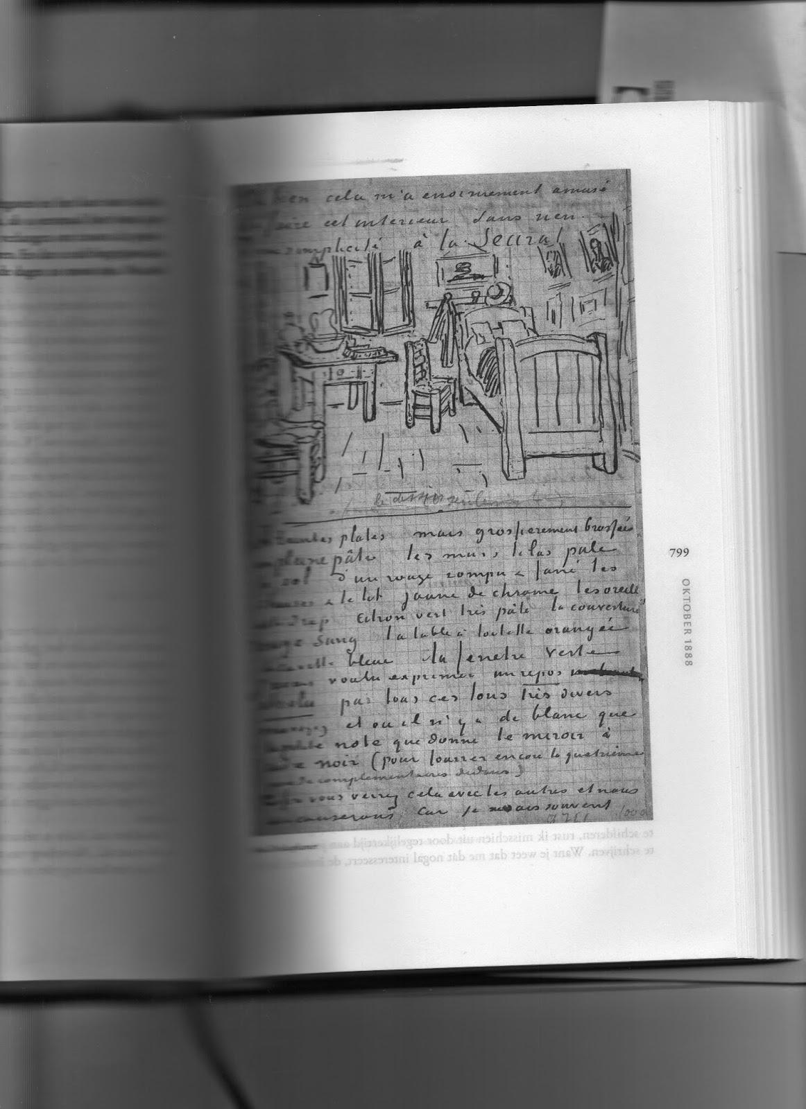 Vincent van Gogh, Schets van zijn slaapkamer, geschetst in brief 706 ...