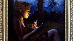 Daniel Douglas - Rokend meisje met i-Phone