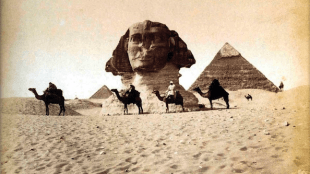 "In his journal, Flaubert wrote of the Sphinx, ""No drawings that I have seen convey a proper idea of it -- best is an excellent photograph that Max has taken."" (Photograph by  Maxime Du Champ)"