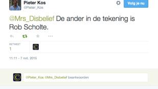 Pieter Kos twittert over Rob Scholte met Mrs. Disbelief