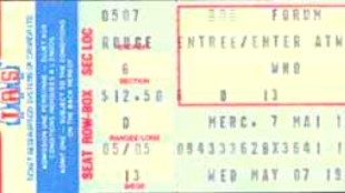 Een ticket voor een later concert van The Who in Forum Montreal