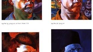 Pagina uit het boek 2314, zelfportretten van Philip Akkerman 1981-2005