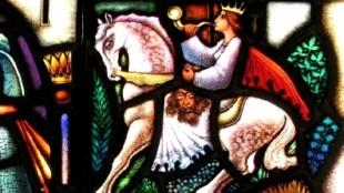 Prinses onderweg met Halewijn's hoofd blaast op hoorn