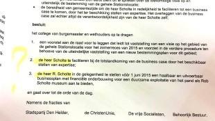 In stemverhouding 16-15 door Gemeenteraad Den Helder 2 maart 2015 aangenomen motie over het Rob Scholte Museum