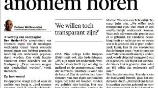 Delano Tevreden - 'Betrokkenen anoniem horen' (Helderse Courant,16 juni 2015)