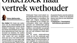Delano Weltevreden - Onderzoek naar vertrek wethouder (Helderse Courant, 16 juni 2015)