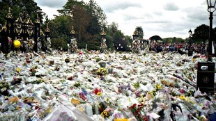 Flowers left outside Kensington Palace for Princess Diana's funeral