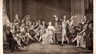 Jean-Louis Anselin - Molière lisant son Tartuffe chez Ninon de l'Enclos (gravure d'après un tableau de Nicolas-André Mansiau)