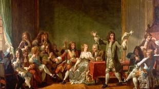 Nicolas-André Monsiau - Molière Reading Tartuffe at Salon of Anne 'Ninon' de l'Enclos