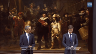President Obama's Bilateral Meeting with Prime Minister Rutte of the Netherlands and the most impressive backdrop