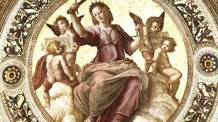 Raphael - Justitia (detail, Stanza Della Segnatura, plafond in het Vaticaan voor Paus Julius II)