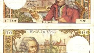 Voltaire op een Frans bankbiljet  uit 1964