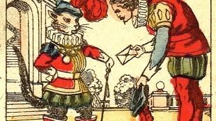 Imagerie Pellerin - De gelaarse kat ((Prentjesboek van Epinal Nr. 14, detail)