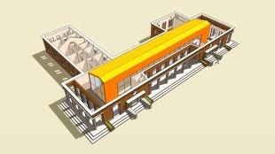 Nieuwbouw binnen in het oude Duitse logementgebouw in Huisduinen te Den Helder (tekening Jan Rietvink)