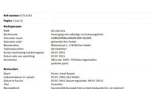 Uittreksel Handelsregister Kamer van Koophandel Gemeentebelangen Den Helder