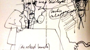 Herman Brood drawing on the back of an Ins & Outs Press 'Bandaged Poets' postcard (from the archive of Henk van der Does)