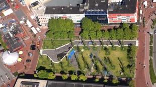 Het Stadspark wordt via het Bernhardplein doorgetrokken (foto Peter van Aalst)