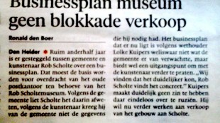 Ronald den Boer - Businessplan museum geen blokkade verkoop, Helderse Courant 6 november 2015