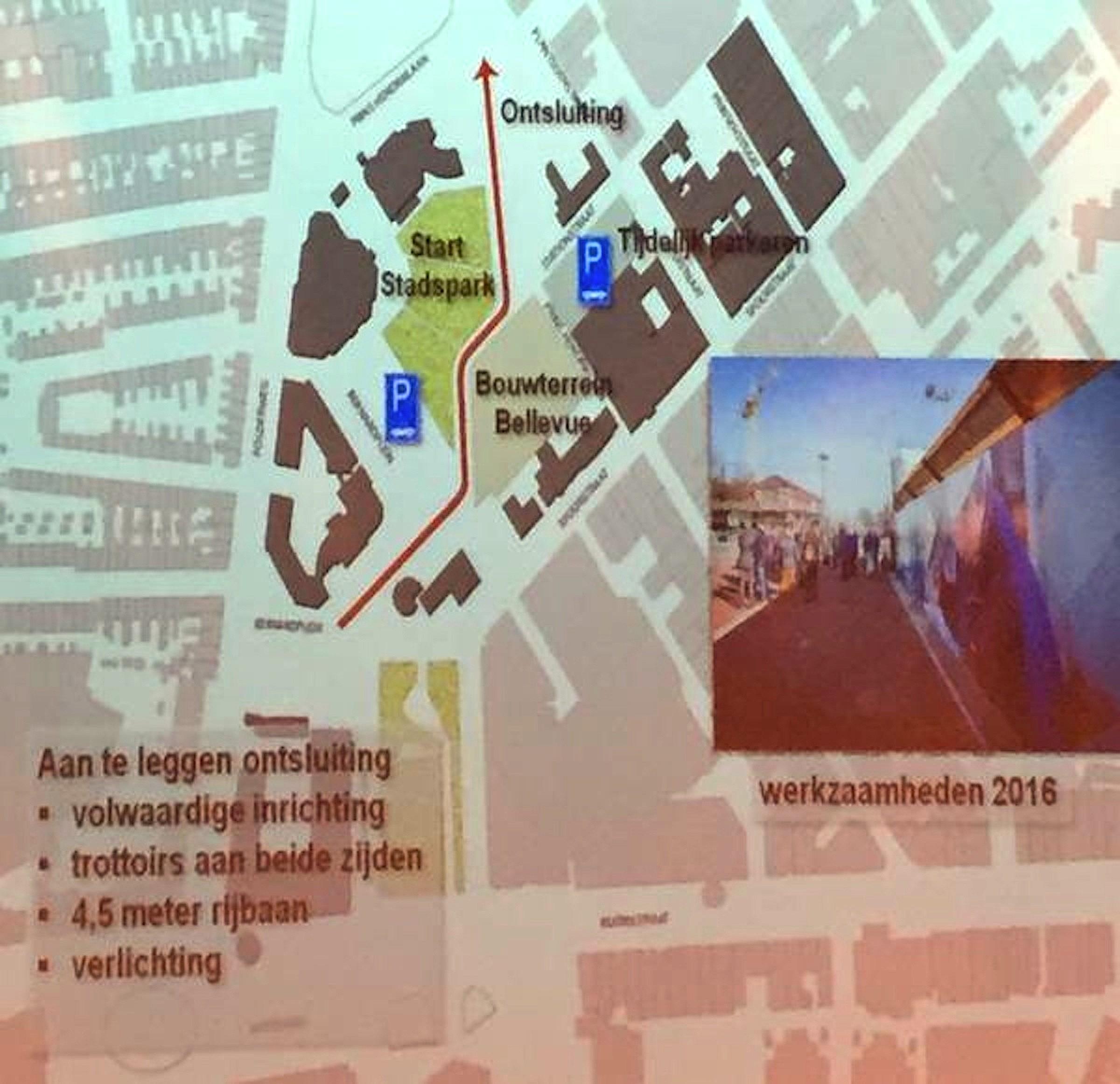 Werkzaamheden 2016 westelijk deel van het stadshart (tekening Zeestad : foto Holland Media Combinatie)