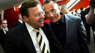 Oscar Hammerstein (rechts) samen met oud-LPF-fractievoorzitter Mat Herben (foto ANP)