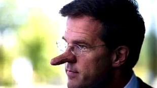 Minister-President Mark Rutte als Pinoccio