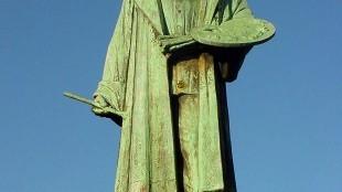 Standbeeld Jeroen Bosch (Jheronimus Bosch) op de Grote Markt in 's-Hertogenbosch (foto Ute Werner/Wikipedia Commons)