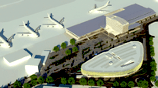 Gebouwen (aankomst- en vertrekhal, hangars, etc.) komen bij het Ecodorp op het beboste terrein