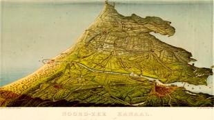 In vogelvlucht weergegeven kaart van Noord-Holland* met het Noordzeekanaal uit 1860 (foto Gemeente Archief Zaanstad/ZOV-Honig)