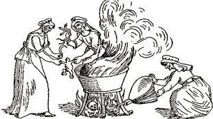 Heksen koken padden en slangen
