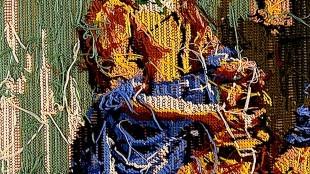 Frechheit: Rob Scholte hat das gestickte Bild mit dem Motiv des Milchmädchens von Vermeer einfach umgedreht