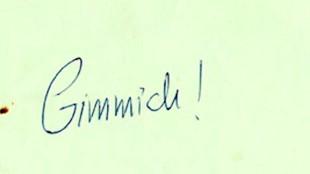 Gimmick! (handschrift van Joost Zwagerman, foto Letterkundig Museum)