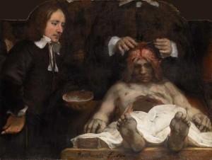 Rembrandt- De anatomische les van Dr. Deyman (detail)