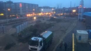 Kijk vanuit je museum naar buiten: renovatie Stationsplein Den Helder dag 4 (foto Lijsje Snijder)