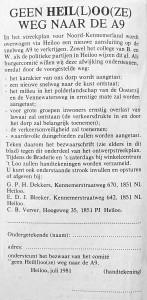 In 1981 werd aan bewoners van Heiloo gevraagd om een bezwaarschrift tegen de afslag A9-Heiloo te ondertekenen (foto Fotomuseum Heiloo)