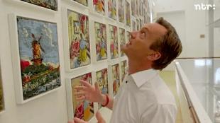 Wim Pijbes bij Rob Scholte's Embroidery Show in Museum de Fundatie te Zwolle (foto YouTube)