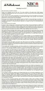 Advertentie, De Volkskrant, NRC, 6 mei 2017