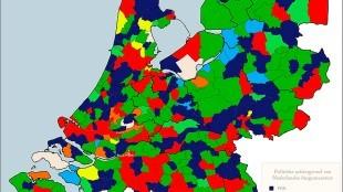 Overzicht van de politieke achtergrond van Nederlandse burgemeesters op 25 november 2012 (foto Wikipedia)