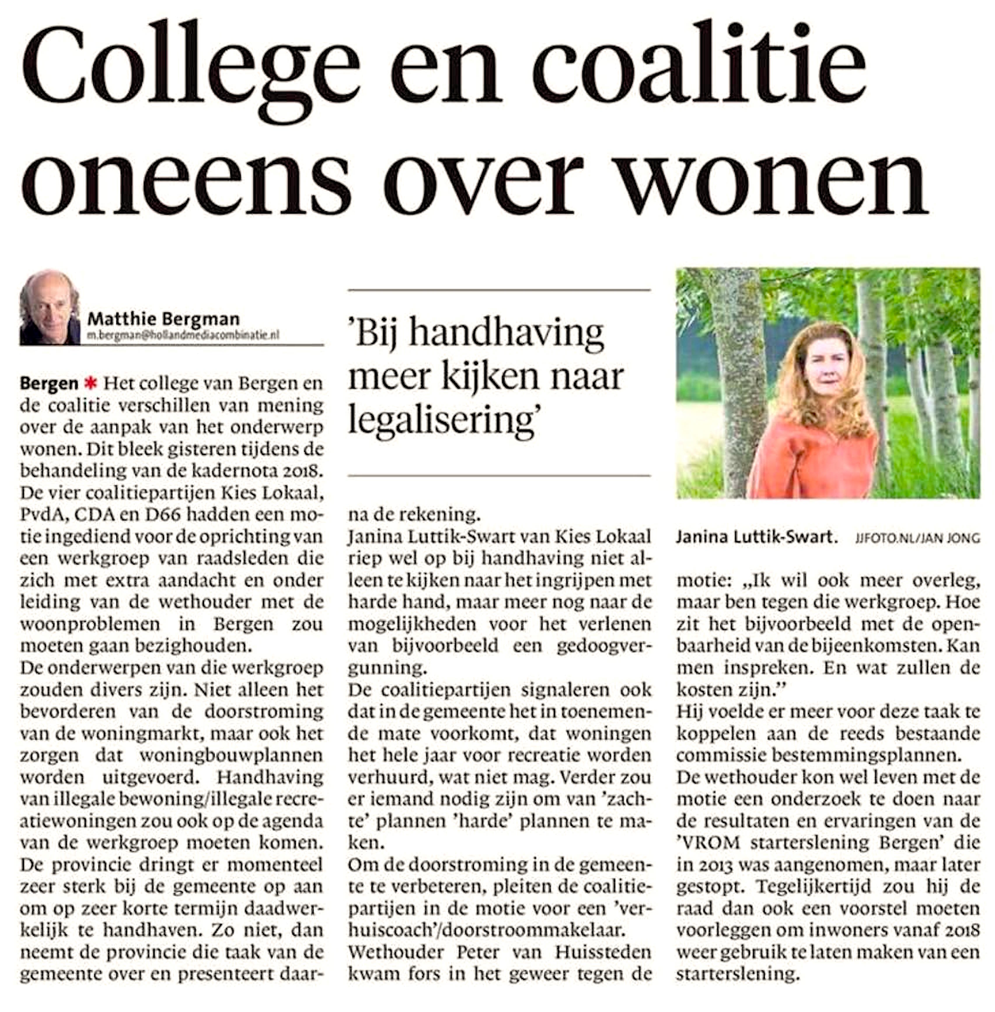 Alkmaarse Courant, 7 juli 2017