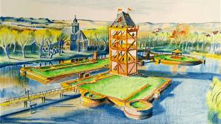 Ontwerpschets van een 28 meter hoge toren op de kasteelruïne Egmond (NH Nieuws)