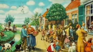 Cornelis Jetses - Schoolplaat (afgebeeld Slotkwartier Egmond aan den Hoef)