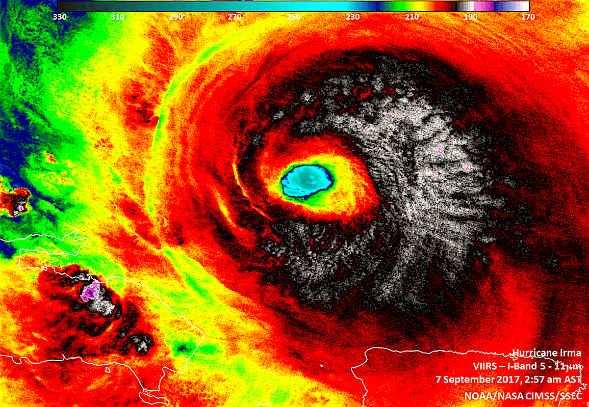 Hurricane Irma (foto NASA/NOAA/UWM-CIMSS, William Straka)