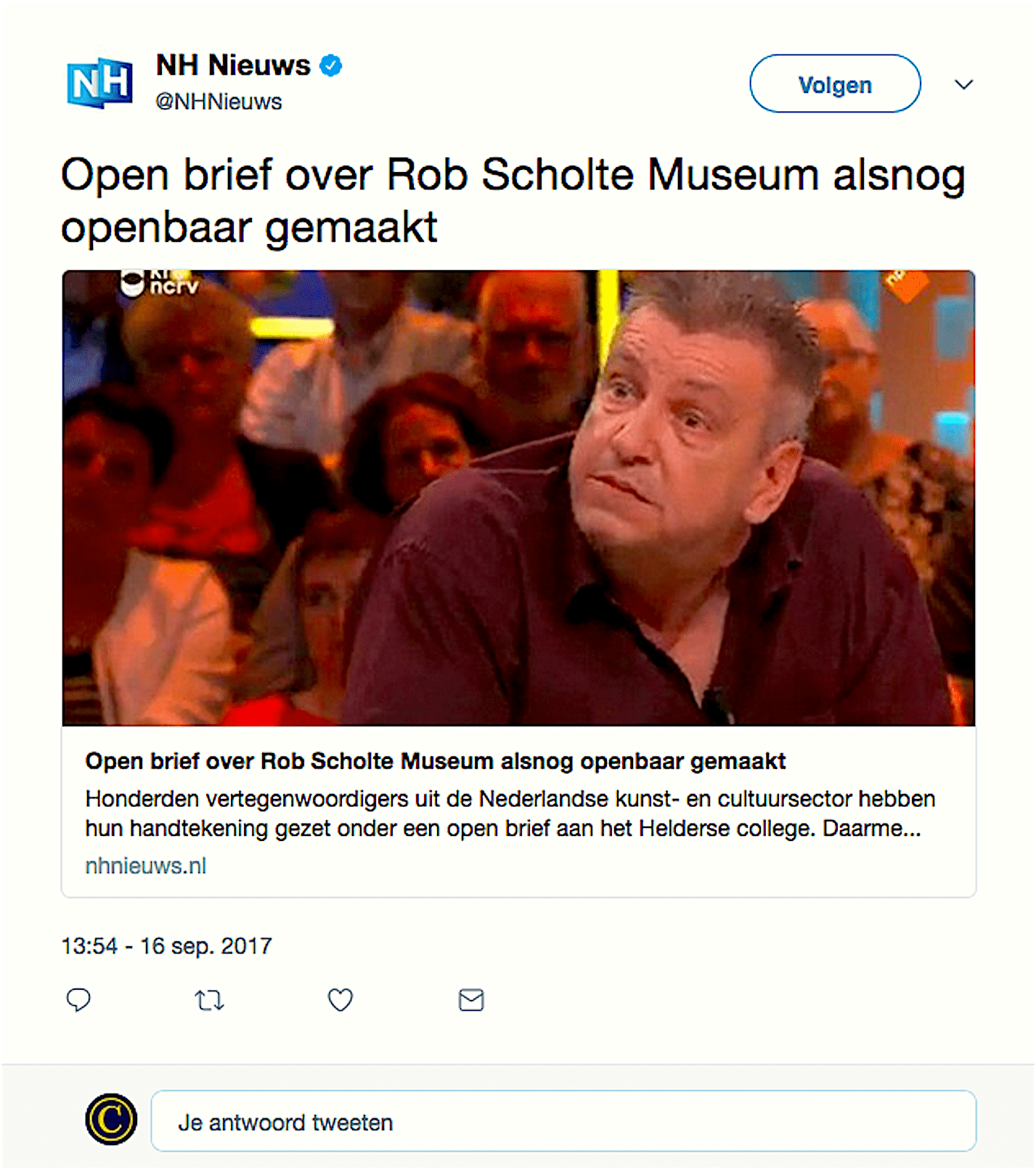 Open brief over Rob Scholte Museum alsnog openbaar gemaakt (NH Nieuws/Twitter)