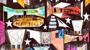 Kunstproject Painted Bird van jurylid Frieling, met namen van genomineerden 2017 en winnaars voorgaande jaren