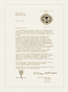 Paul Groot & Willem Velthoven - Letter to Glenn O'Brien, march 1, 1989