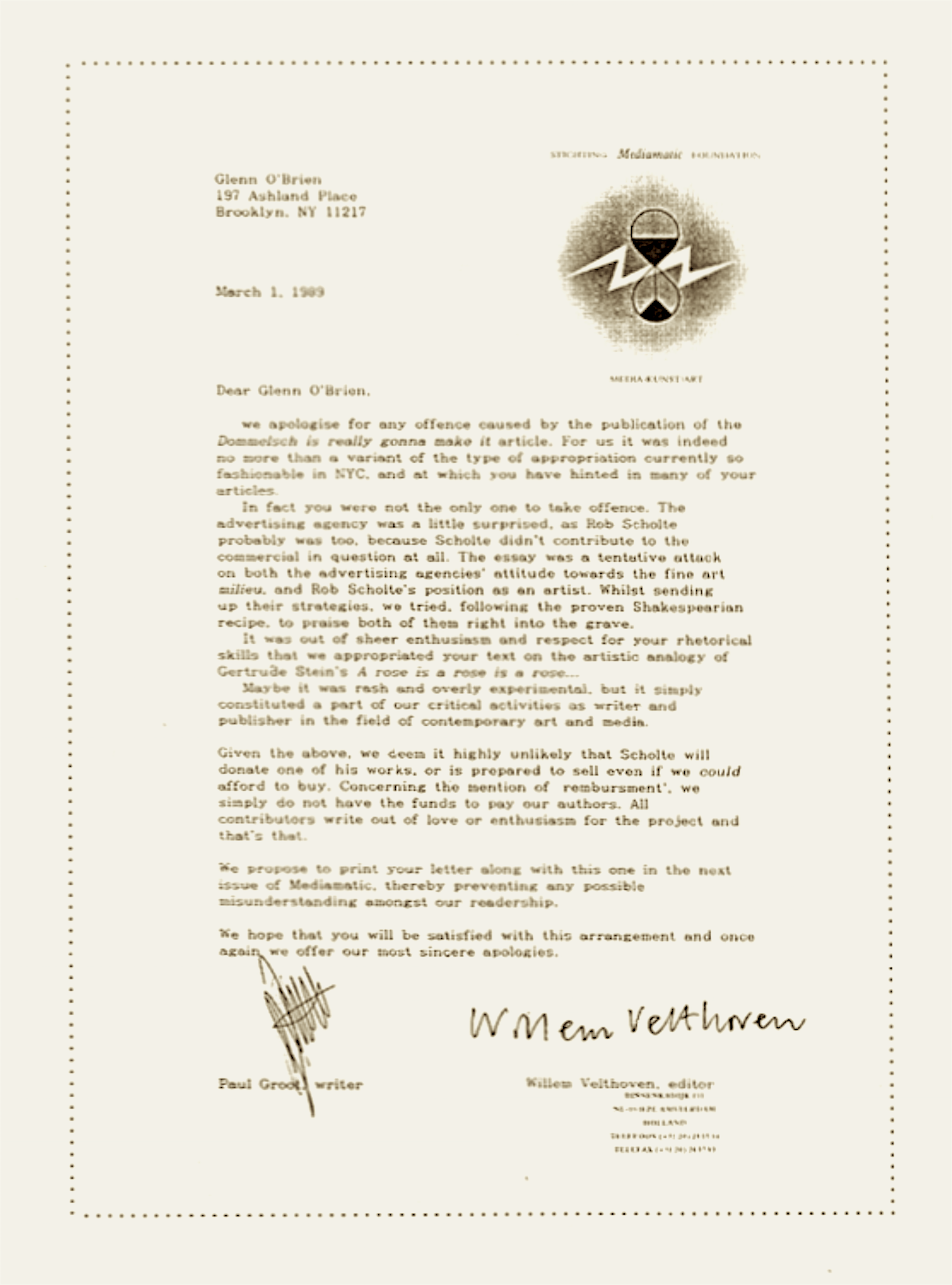 Paul groot willem velthoven letter to glenn obrien march 1 paul groot willem velthoven letter to glenn obrien march 1 1989 expocarfo Images