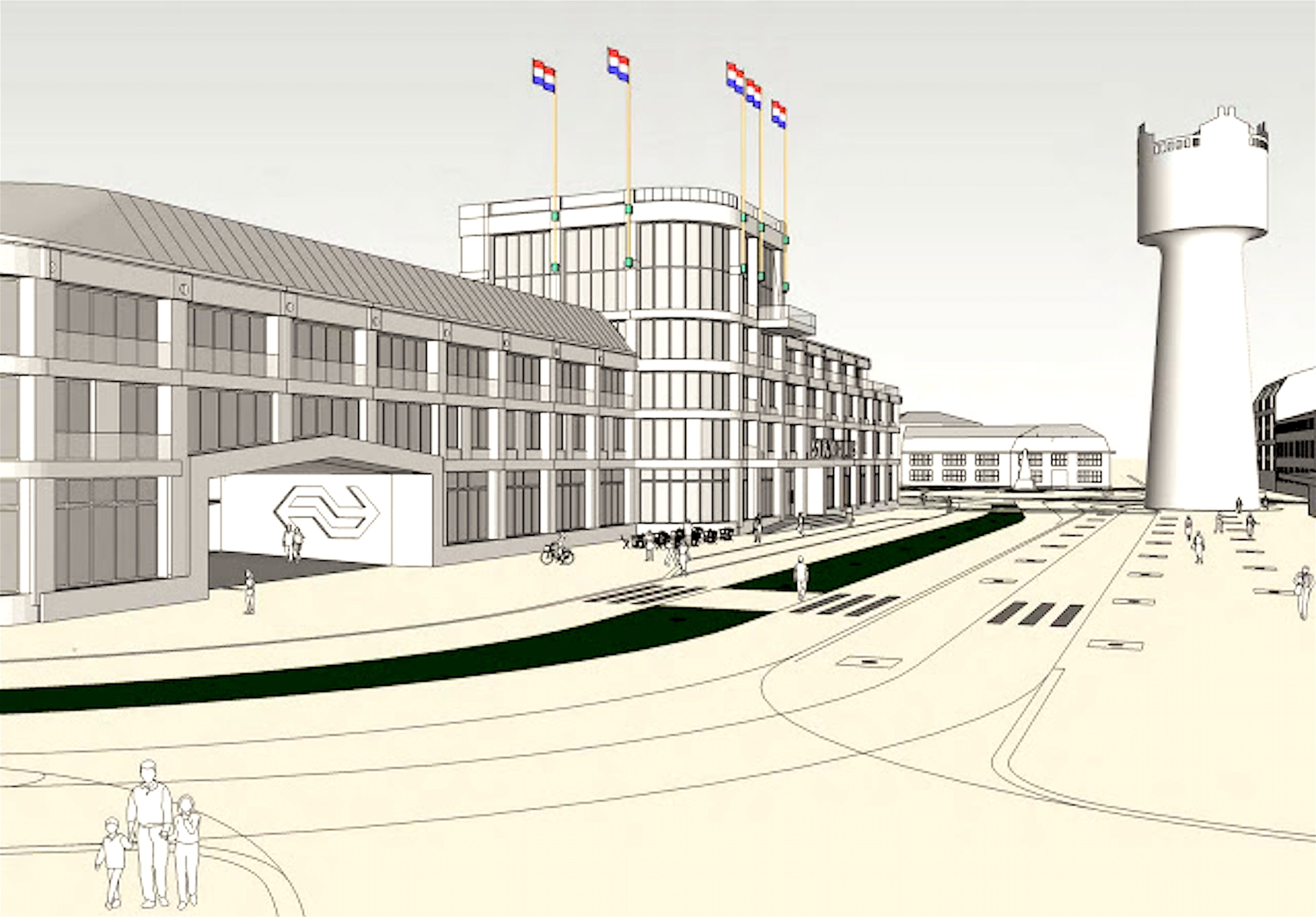 Stadhuis op stationslocatie (foto West 8)