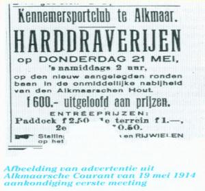 Advertentie Alkmaarsche Courant, 19 mei 1914 (Archief NDR)